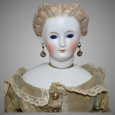 Parian German Bisque Head Lady with Swivel Neck and Glass Eyes