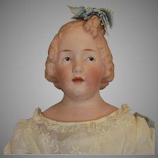 German Bisque Head Character Girl by Gebruder Heubach