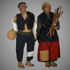 European Peasant Couple Old Handmade Cloth Dolls