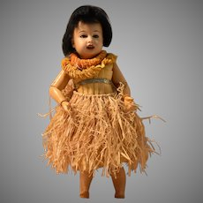 Gebruder Kuhnlenz German Brown Bisque Hawaiian Character Child in Original Costume