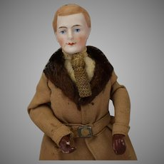 German Bisque Shoulderhead Male Doll House Doll with Brown Painted Gloves