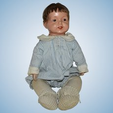 Early Composition Doll Socket Head Doll with Cloth Body and Composition Lower Arms