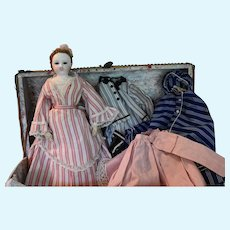 French Fashion Poupee Peau Doll with Original Old Trunk, Clothing, and Accessories