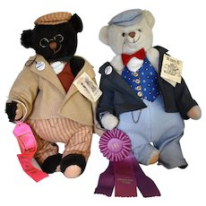 """Teddy B & Teddy G"" Reproduction Bears in Original Boxes"