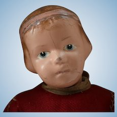 Wooden Schoenhut Doll with Carved Hair and Ribbon