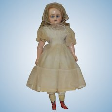 German Wax Over Papier Mache Doll with Sleep Eyes and Squeaker