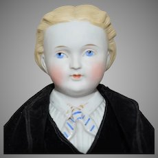 Kling German Parian Young Gentleman Doll with Molded Collar, Shirt, and Tie