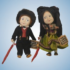 Rare French Character Googly Hansi Composition Dolls Yerri and Gretel