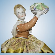 Beautiful German China Half Doll With Gold Decorated Hair and Upraised Arms Holding Bowl of Fruit