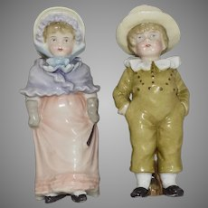 Antique Kate Greenaway Style German China Children Figurines Pair