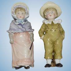 Antique Kate Greenaway Style German China Children Figurines Pair