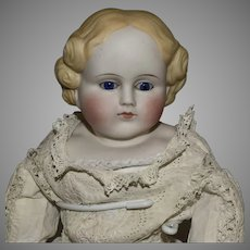 Simon & Halbig Parian Bisque Turned Head Doll in White Antique Dress