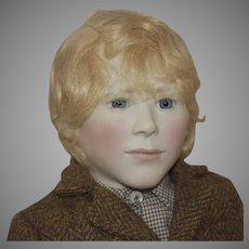 "Limited Edition  Artist Doll ""Simon"" English Porcelain and Wood Boy by Lynne and Michael Roche"
