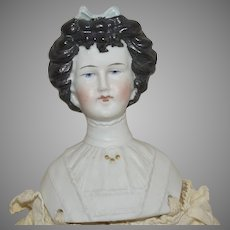 "Antique ""Irish Queen"" Fancy Hairstyle German Parian Shoulder Head Doll with Decorated Bodice"