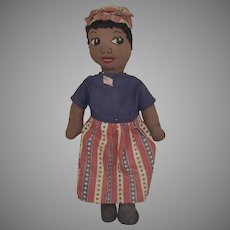 Black Cloth Doll with Embroidered Face and Patriotic Costume