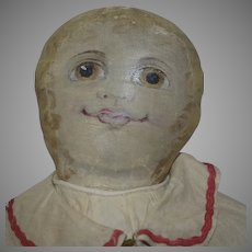 OOAK Antique Artist Americana Cloth Oil Painted Face Doll
