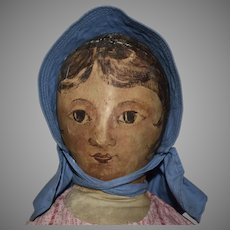 Antique Homemade One of a Kind Cloth Doll with Oil Painted Face