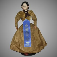 Greiner 1858 Early Papier Mache Head Doll with Paper Provenance