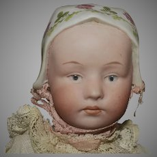 Antique German Bisque Gebruder Heubach Character Doll Baby Stuart with Molded Bonnet