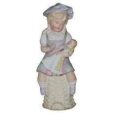 All Bisque Antique Gebruder Heubach Girl Holding Doll Figurine