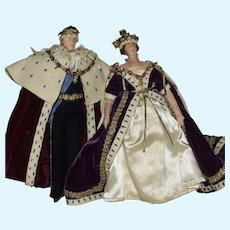 Liberty Of London Cloth Royalty Doll Pair—Queen Elizabeth II and her husband Phillip, the Duke of Edinburgh