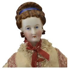 All Original Kling German Parian Bisque Head Doll with Fancy Decorated Hairstyle and Box