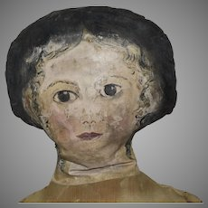 Large Antique Cloth Doll with Oil Painted Head