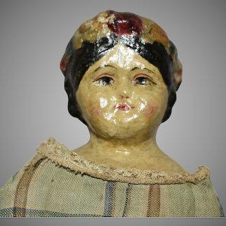 Rare and Wonderful Early Rubber or Gutta Percha Head Doll