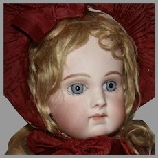 Early EJ Pressed Bisque Head Doll in Original Ernestine Jumeau Red Couturier Costume