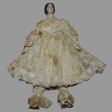 Petite German Papier Mache Shoulder Head Doll in Original Lace Costume