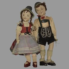 Fabulous Hansel and Gretel Cloth One of a Kind Hand Made Cloth Dolls