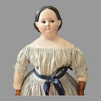 Early Papier Mache Doll with Rare Flirty Glass Eyes
