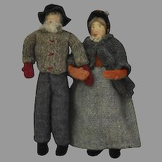 Vintage Pair New Brunswick Cloth Dolls with Side Glancing Eyes and Original Ethnic Costumes