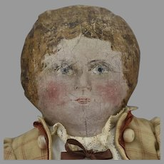 Antique Oil Painted Head Doll in Artist Sewn Ecru Plaid Costume with Tatting and Rust Trim Decoration