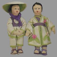 Asian Felt Doll Pair in Original Costumes