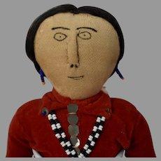 Vintage Cloth Native American Woman Doll