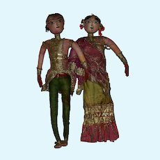 Antique Cloth Bride and Groom Doll from India in Original Ornate Dress