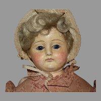 Antique Papier Mache Shoulder Head Doll in Pink Dress