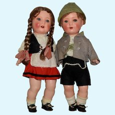 German Painted Bisque Toddler Doll in All Original Ethnic Costumes