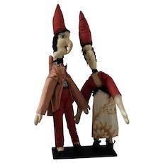 Folk Art Cloth Punch & Judy Dolls with Black Metal Display Stand