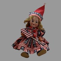 Petite German Bisque Head Doll with Original 5 Piece Composition Body