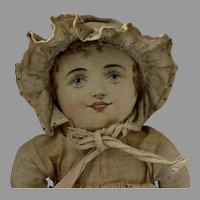 Antique All Original Cloth Doll with Lithograph Face