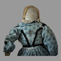 Old Cloth Doll in Blue Dress