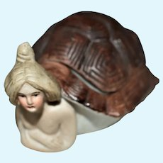 Humorous All Bisque German Naughty Nudie Lady in Turtle Shell with Removable Lid
