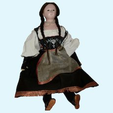 Early All Original German Papier Mache Shoulder Head Doll Wig and Ethnic Costume