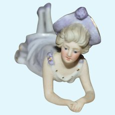 Petite German All Bisque Bathing Beauty in Lavender and White Costume