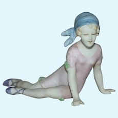 German All Bisque Bathing Beauty with Pink Bathing Costume and Blue Cap