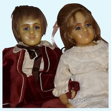 """Gillie"" Artist Created Poured Wax Vintage Doll Pair in Original Clothes"