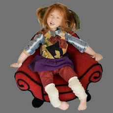 """Artist Sandi McAslan Limited Edition Porcelain Character Doll """"Ami"""" Complete with Whimsical Chair"""