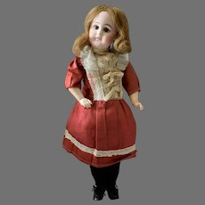 Early Belton Bisque Socket Head Doll in Antique Red Dress